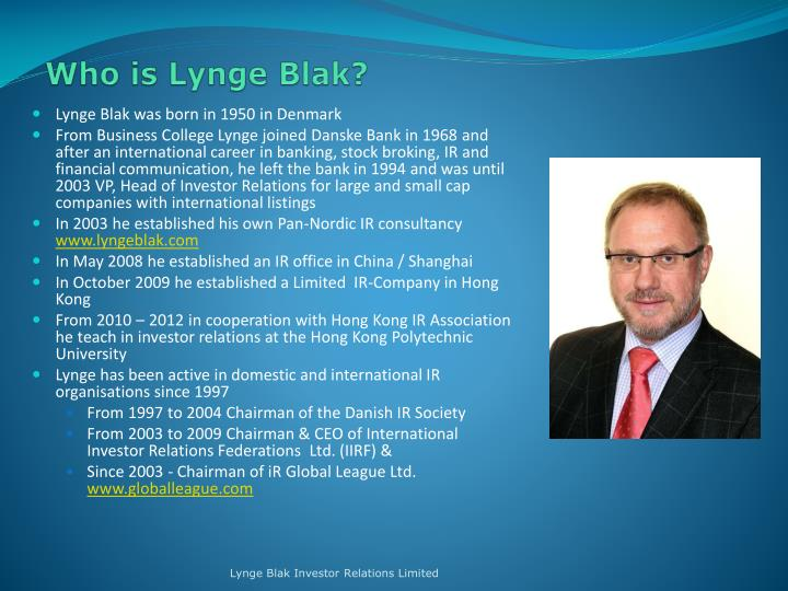 Who is Lynge Blak?