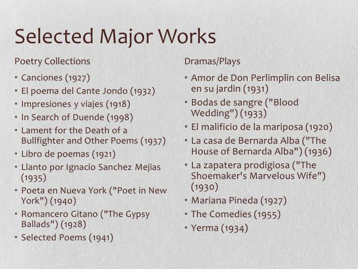 Selected Major Works
