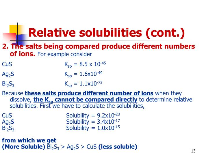 Relative solubilities (cont.)