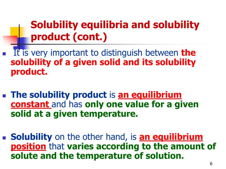 Solubility equilibria and solubility product (cont.)