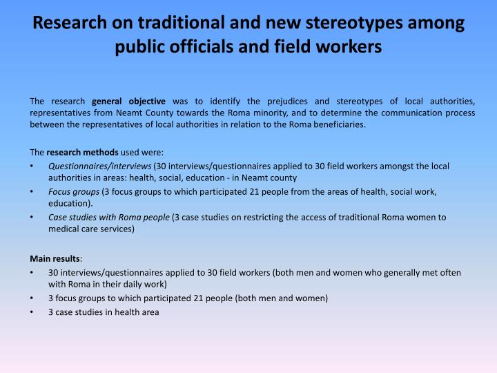 Research on traditional and new stereotypes among public officials and field workers