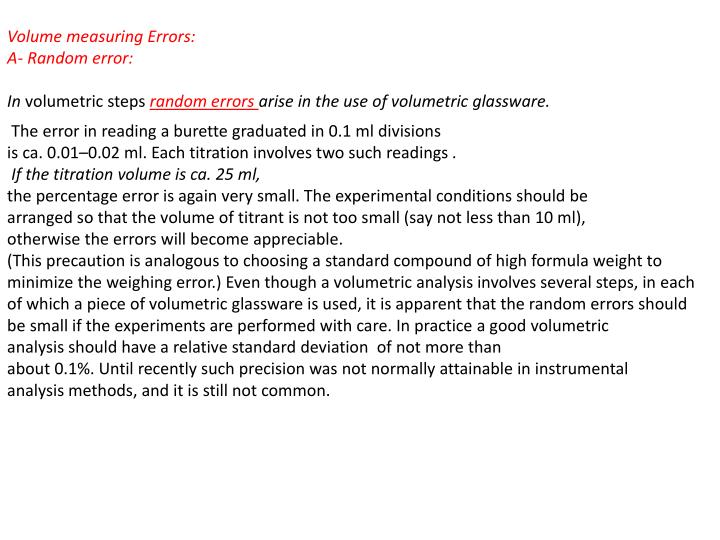Volume measuring Errors: