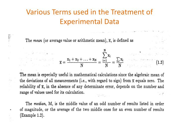 Various Terms used in the Treatment of Experimental Data