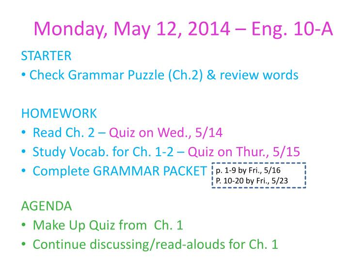 Monday may 12 2014 eng 10 a