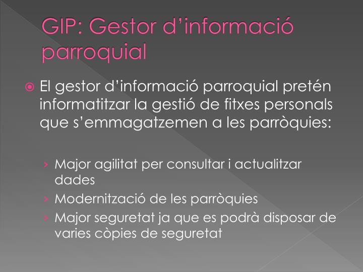 GIP: Gestor d'informació parroquial
