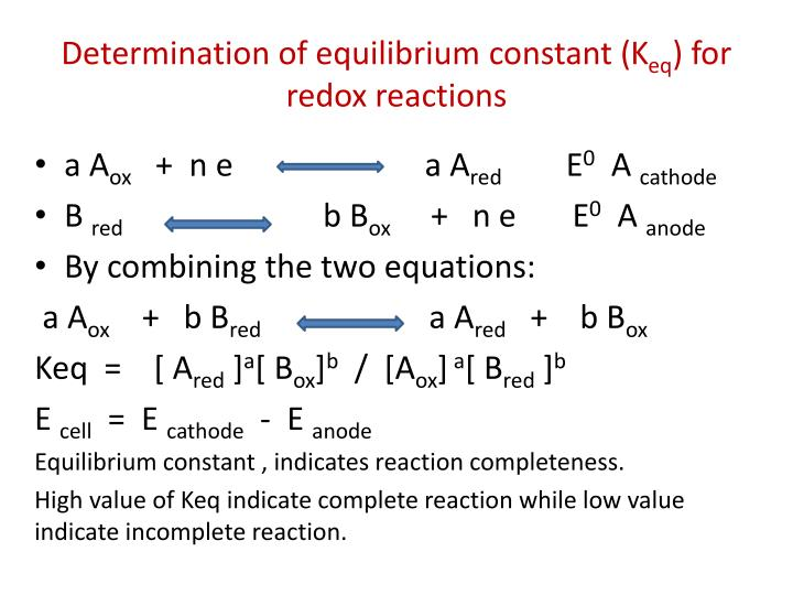 Determination of equilibrium constant (