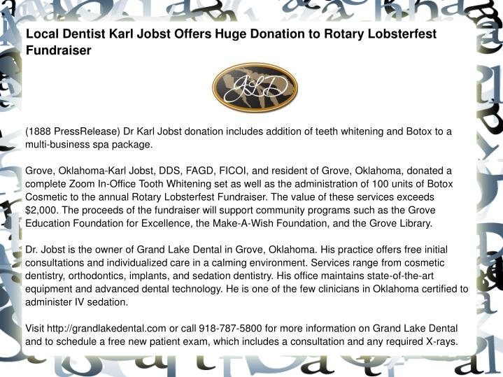 Local Dentist Karl Jobst Offers Huge Donation to Rotary Lobsterfest Fundraiser