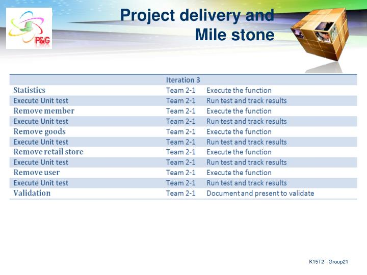 Project delivery and Mile stone
