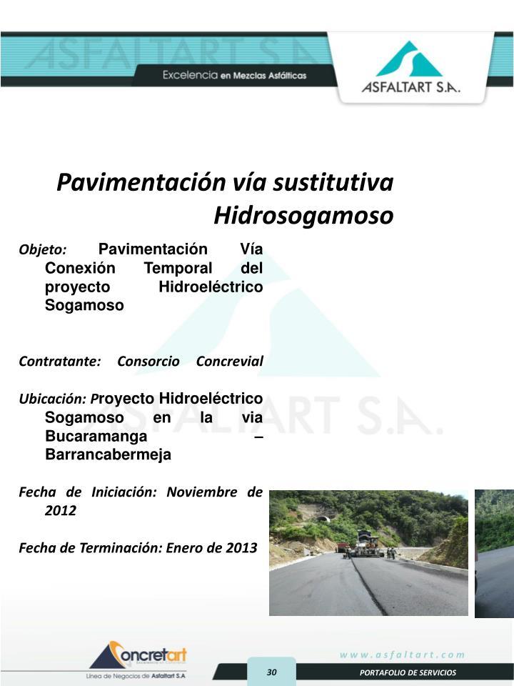 Pavimentación vía sustitutiva