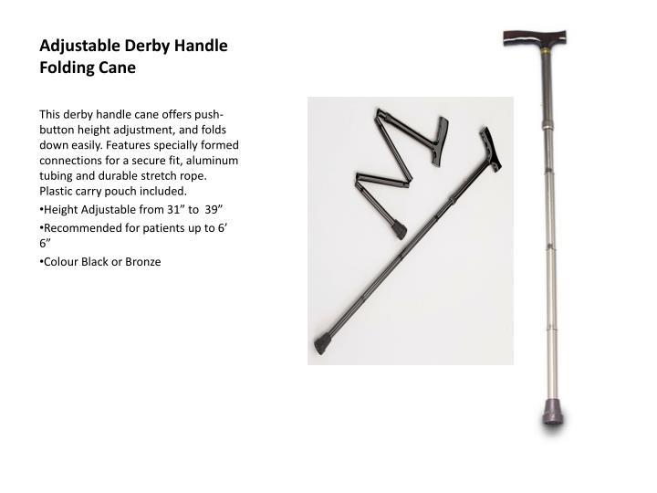 Adjustable Derby Handle Folding Cane