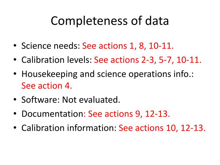 Completeness of data