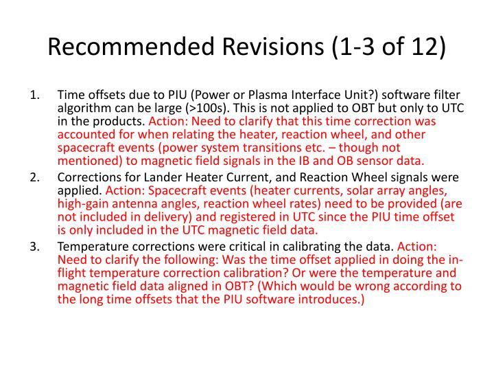 Recommended Revisions (1-3 of 12)
