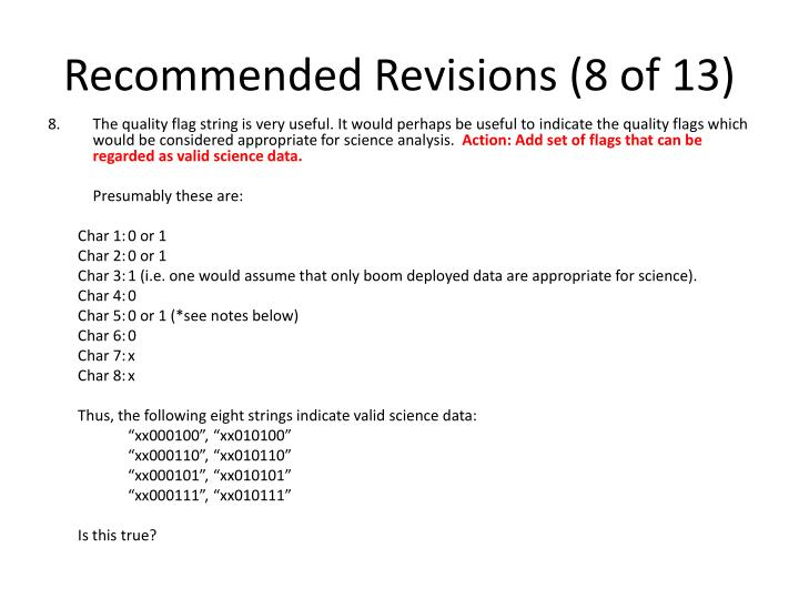 Recommended Revisions (8 of 13)