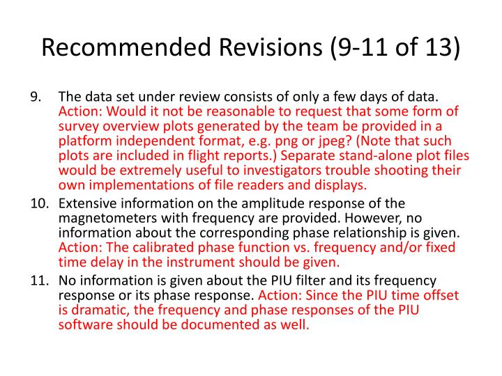 Recommended Revisions (9-11 of 13)
