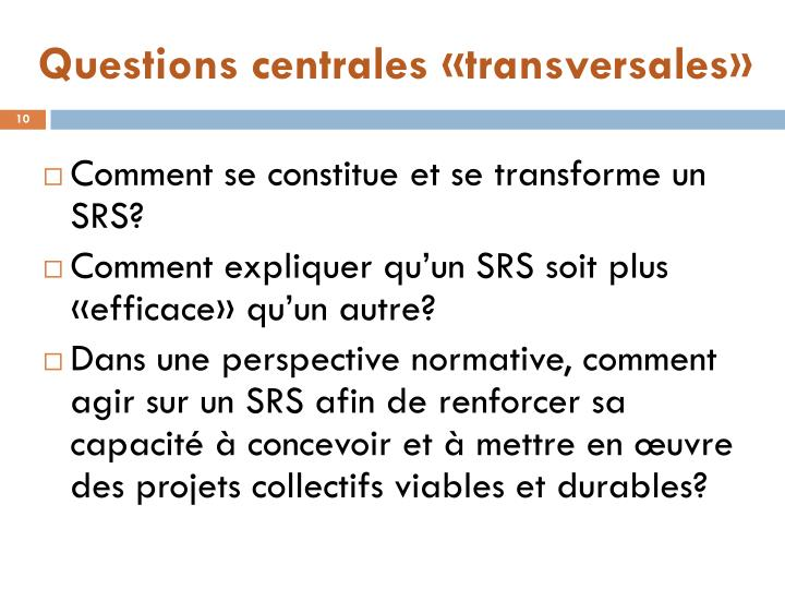 Questions centrales «transversales»