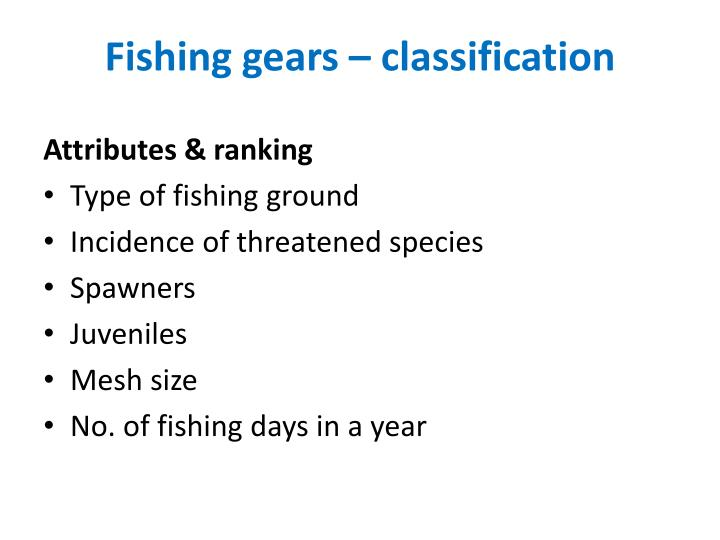 Fishing gears – classification