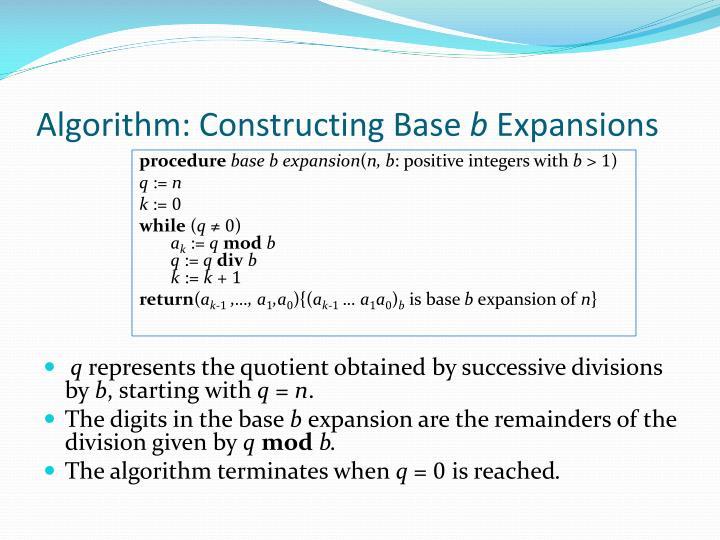 Algorithm: Constructing Base