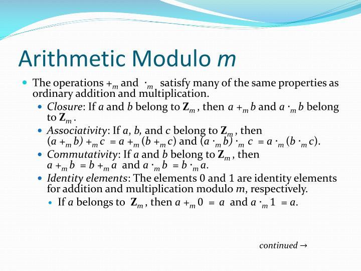 Arithmetic Modulo