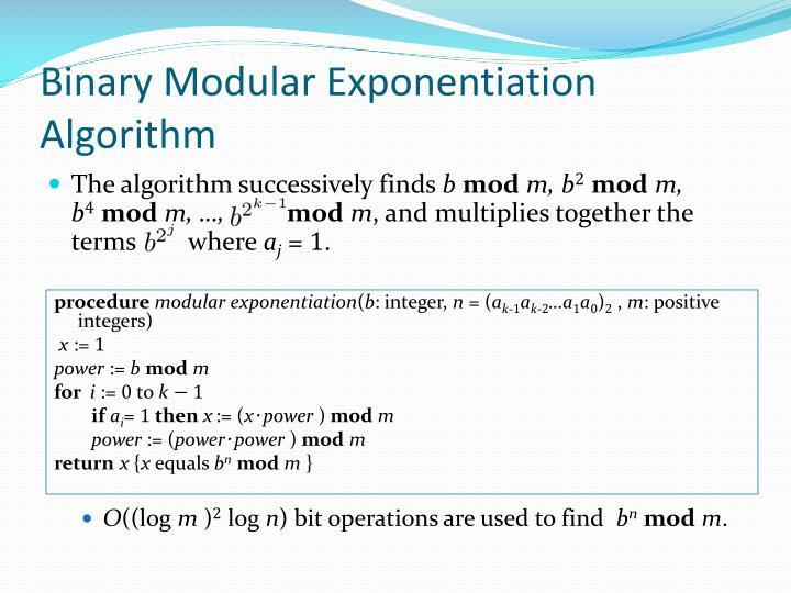 Binary Modular Exponentiation Algorithm