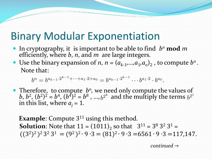 Binary Modular Exponentiation