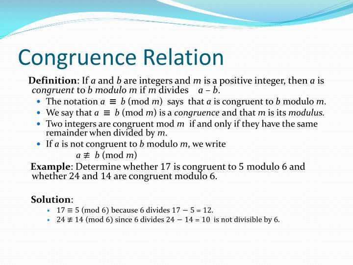 Congruence Relation