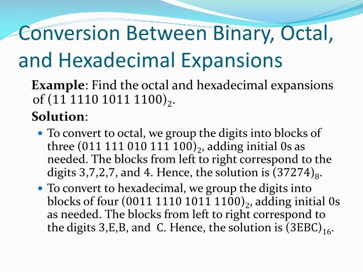 Conversion Between Binary, Octal, and Hexadecimal Expansions