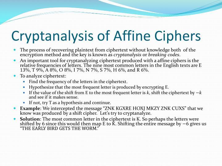 Cryptanalysis of Affine Ciphers