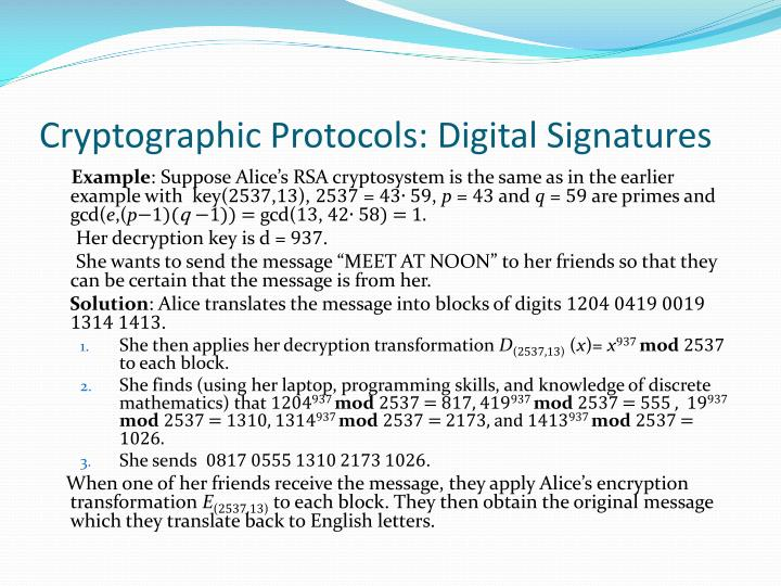 Cryptographic Protocols: Digital Signatures