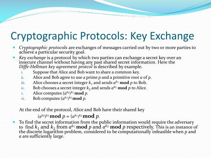 Cryptographic Protocols: Key Exchange