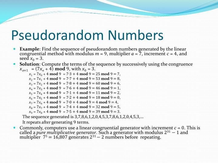 Pseudorandom Numbers