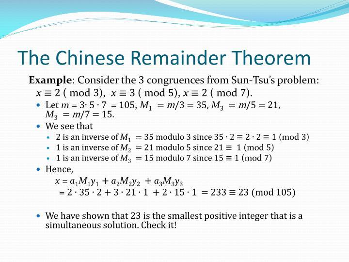 The Chinese Remainder Theorem