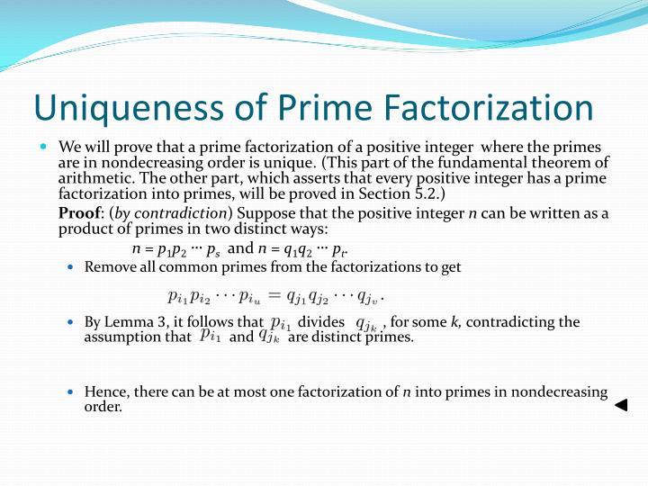 Uniqueness of Prime Factorization