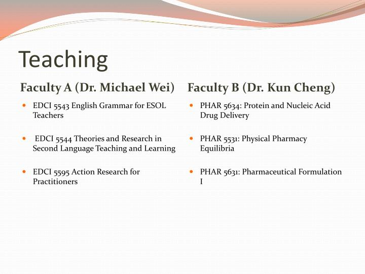 Faculty B (Dr. Kun Cheng)