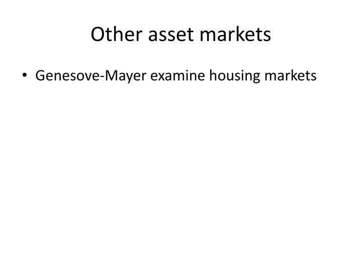 Other asset markets