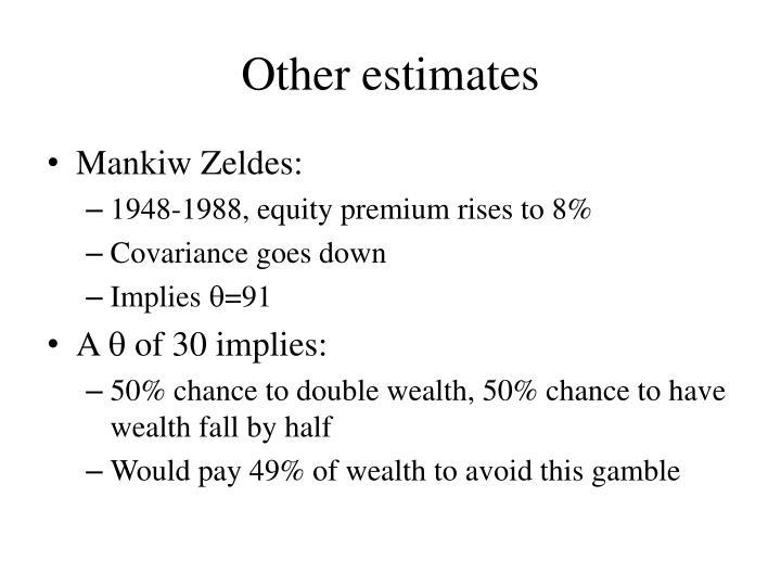 Other estimates