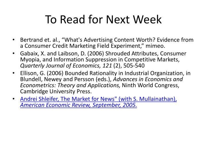 To Read for Next Week
