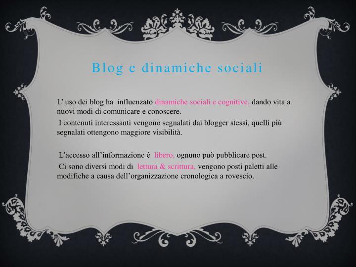 Blog e dinamiche sociali
