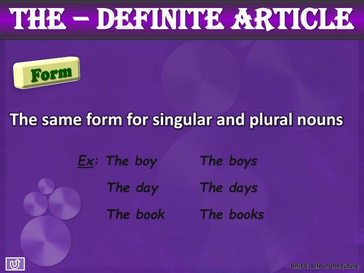The – definite article