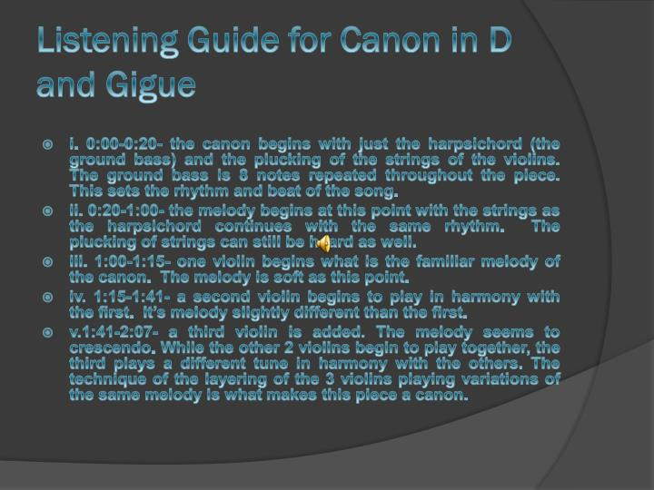 Listening Guide for Canon in D and Gigue