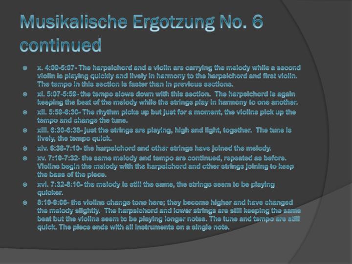 Musikalische Ergotzung No. 6 continued