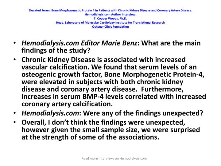 Elevated Serum Bone Morphogenetic Protein 4 in Patients with Chronic Kidney Disease and Coronary Artery Disease.