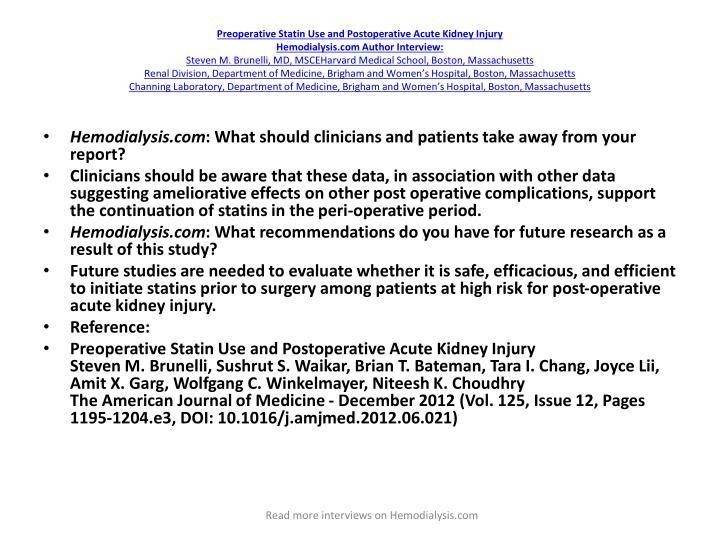 Preoperative Statin Use and Postoperative Acute Kidney Injury