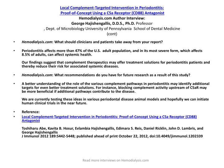Local Complement-Targeted Intervention in Periodontitis: