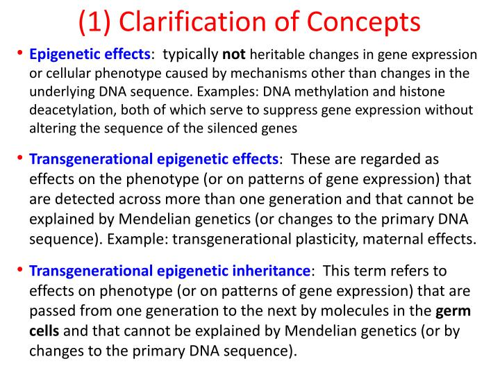 (1) Clarification of Concepts
