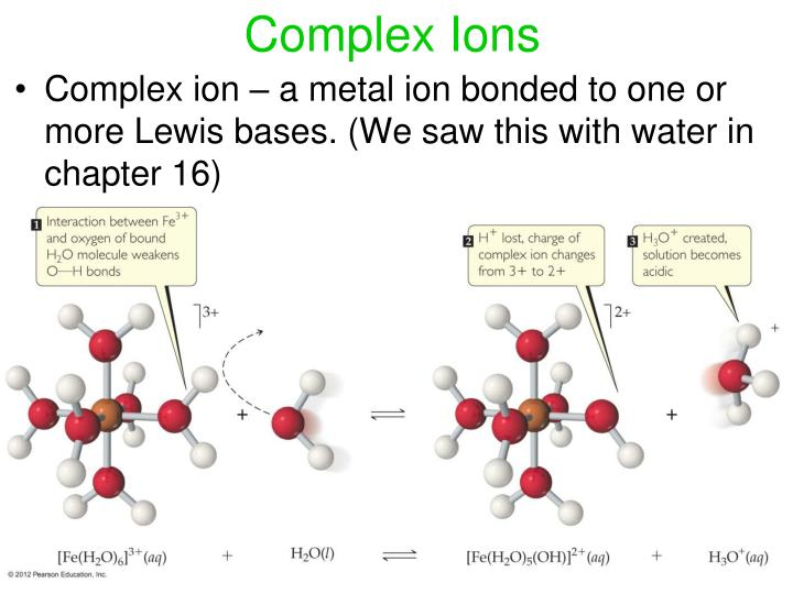 Complex ion – a metal ion bonded to one or more Lewis bases. (We saw this with water in chapter 16)