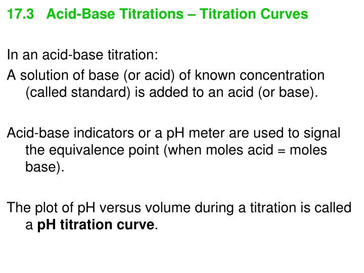 17.3   Acid-Base Titrations – Titration Curves