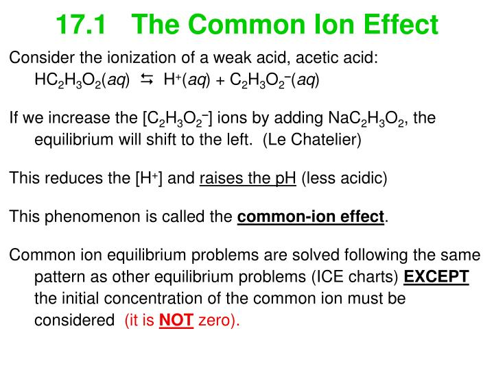 17.1   The Common Ion Effect