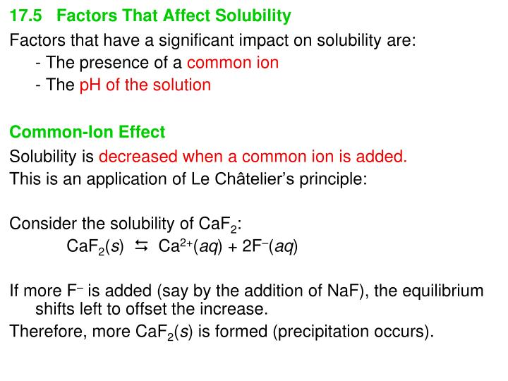 17.5   Factors That Affect Solubility