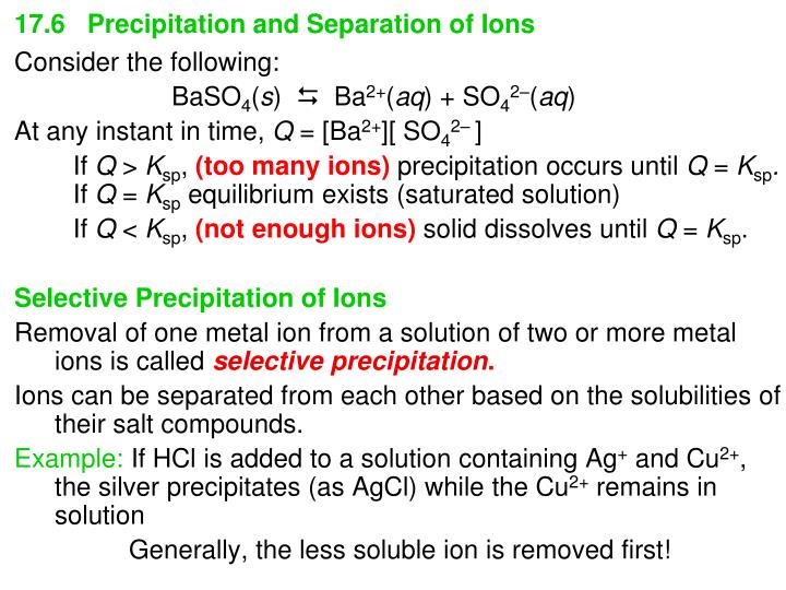 17.6   Precipitation and Separation of Ions