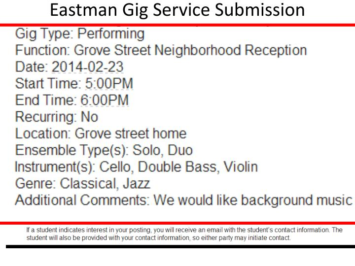 Eastman Gig Service Submission Confirmation (ID: 2542)